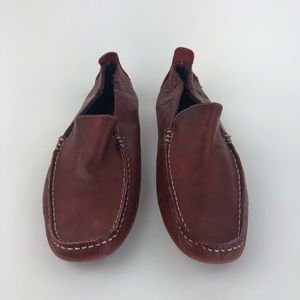 Aldo Mens Slip On Dress Shoes Loafers Red Leather